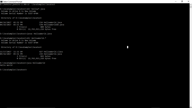 HelloWorld-compile&execute-CMD