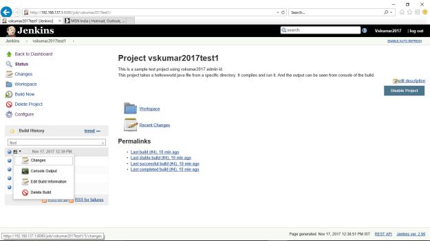Jenkins-Project-vskumar2017test1-buildsNow#5