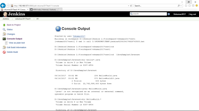 Jenkins-Project-vskumar2017test1-running-build1-consoleOuput